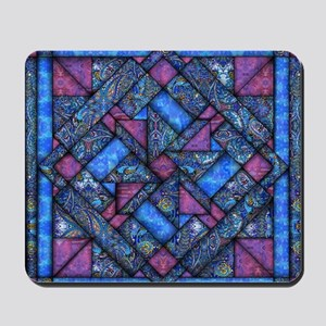 Purple and Blue Quilt Mousepad